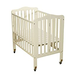 Big Oshi Angela 3 Position Portable Adjustable Crib Foldable & Space Saving Baby Crib - French White