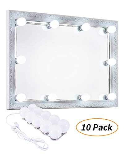 Keonjinn Hollywood Style LED Vanity Mirror Lights Kit with 10 Dimmable Light Bulbs for Makeup Dressing Table Dimmable with White and Yellow (No Mirror Included)