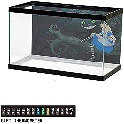 "bybyhome Fish Tank Backdrop Alice in Wonderland,Fairytale Kids,Aquarium Background,24"" L X 16"" H(61x41cm) Thermometer Sticker"