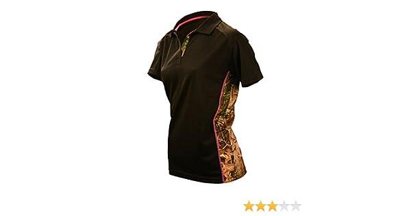5a51331e Amazon.com : Gamehide Ladies Wilderness Camo Tipped Black Polo Shirt for  Women : Clothing