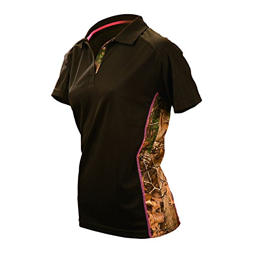 Gamehide Ladies Wilderness Camo Tipped Black Polo Shirt For Women (Gamehide Camo)