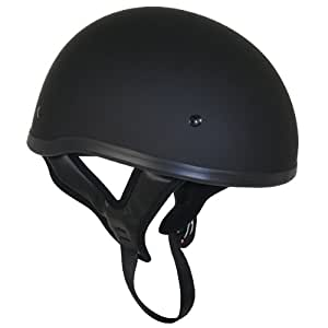 Outlaw T68 DOT Flat Black Motorcycle Skull Cap Half Helmet - Small