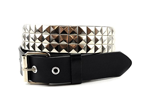 [NYFASHION101 Pyramid Stud Faux Leather Belt w/ Removable Roller Buckle, Black/Silver, M] (Removable Roller Buckle)