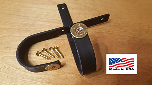 VERDICT BRAND 12 GAUGE Brass Edition Gun Racks Shotgun Hooks Rifle Hangers (1 Pair) Felt Lined, Black, Mounting Screws & Instructions Included
