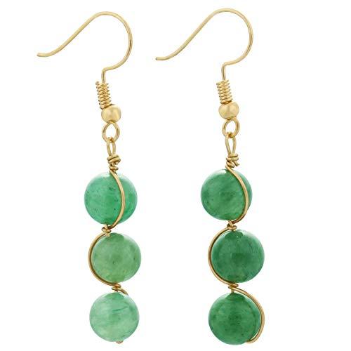 ngle Earrings Healing Crystal Beads Copper Wire Wrapped Hook Drop Earring Handmade Jewelry for Women,Green Aventurine ()