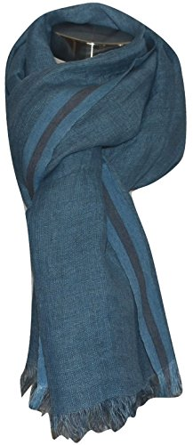 Hand Spun, Handwoven Shorty Weave Pure Linen Fabric Triple Stripe edge Scarf. X1425 by Exclusive Handcrafts (Image #1)
