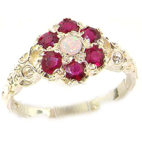 925 Sterling Silver Real Genuine Opal And Ruby Womens Band Ring   Size 12