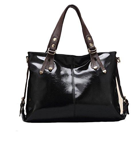 qckj Mode Croix Corps Sac à bandoulière femmes PU noir taille l bandbag