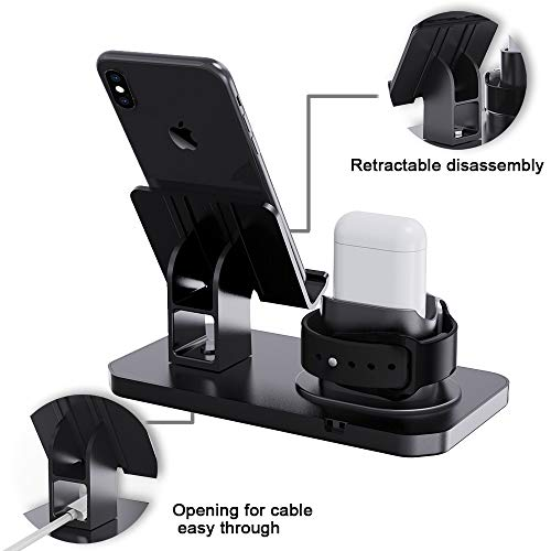 Smartelf 3 in 1 Charging Stand for Apple Watch Series 5/4/3/2/1,Silicone Charging Station for AirPods Pro/1/2,Phone Stand for All iPhone Series iPads,Other Android Smartphone-Black