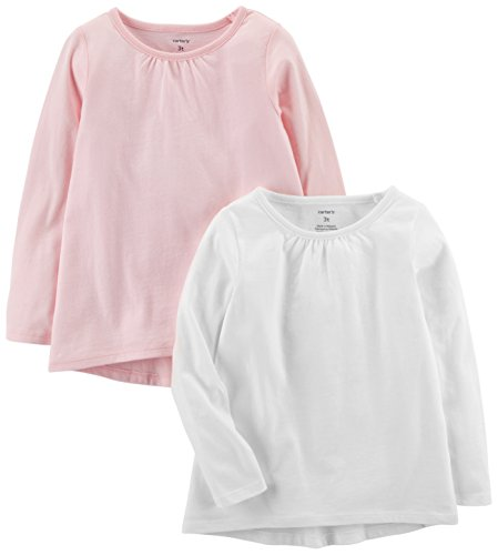Carter's Girls' Toddler 2-Pack Long-Sleeve Tees, White/Light Pink, 2T