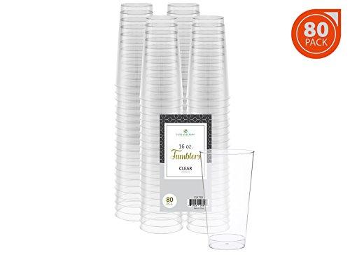 Elite Selection 80 Pack 16 Oz. Disposable Hard Plastic Party Restaurant Cups/Tumbles -