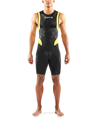 SKINS Men's Tri 400 Triathlon Skinsuit with Back Zip, Black/White, Small
