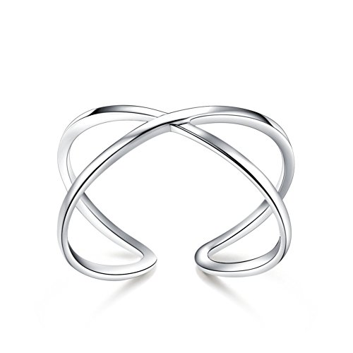 Cross Silver Sterling Solid Wave (Kokoma 925 Sterling Silver Criss Cross X Ring Adjustable Open Polished Shiny Engagement Wedding Band)