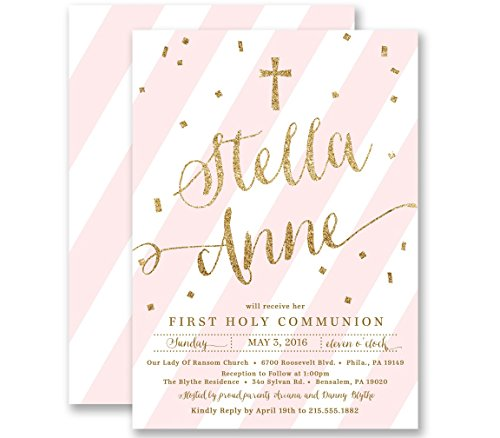 Communion Invitations Girl Pink Striped Gold Glitter Look Personalized Boutique Invites with Envelopes- Stella style