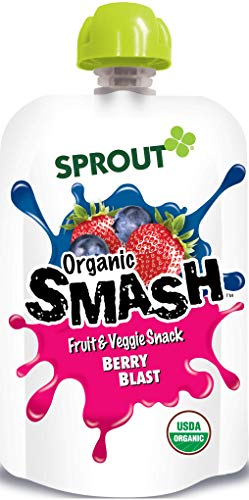 Sprout Organic SMASH Snack Pouches Fruit and Vegetable Puree, Berry Blast, 3.2 Ounce, 16 Count by Sprout (Image #1)