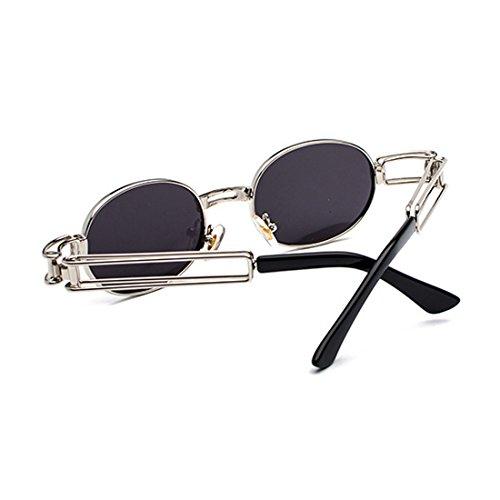 transparente metal Inlefen Negro de sol marco de Gafas de Gafas lente Lentes redondas señoras de de Plata hombres los gafas ovales de xffqwRvn8r