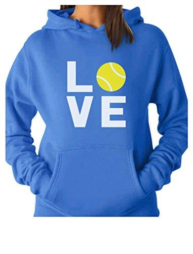 (Love Tennis - Gift Idea for Tennis Fan/Tennis Player Cool Women Hoodie Large California Blue)