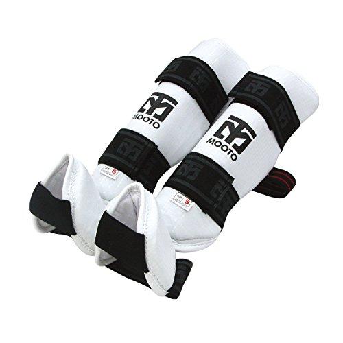 Mooto Taekwondo Shin Instep Protector Black & White S to XL (White, 1.S(134-152cm or - Instep Shin Protector