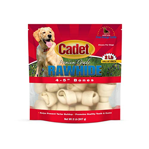 (Cadet Premium Rawhide Knotted Bone Dog Chews, 4 to 5 Inches each, 2)