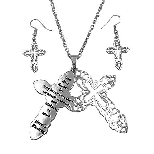 Gypsy Jewels Inspirational Message Faith Cross Theme Pendant Long Necklace & Earring Set (Nurses Blessing Silver Tone)