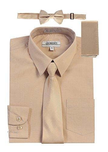 Gioberti Boy's Long Sleeve Dress Shirt with Zippered Tie, Bow Tie, and Handkerchief Set, Khaki, Size - Sleeve Cotton Long Zippered
