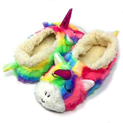 Oooh Geez Fluffy Animal Slipper My Unicorn All Amazingly Soft Sherpa Non-Skid Sole Size -