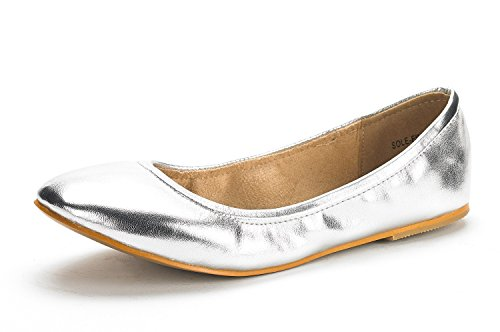 DREAM PAIRS Women's Sole-Fina Silver Glitter Solid Plain Ballet Flats Shoes - 9 M US (Glitter Solid Silver)