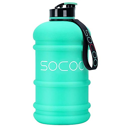 Half Gallon Water Bottle BPA Free 2.2 Litre Big Water Bottles Leak Proof Reusable Large Water Jugs with Spout Gym Water Bottle for Sports Hydrate Water Bottle (2.2L PETG Mint)