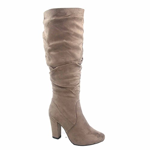 Top Moda Zola-5 Women's Fashion Zipper Chunky Heel Knee High Boots Shoes (10, Taupe) Chunky Knee High Heels
