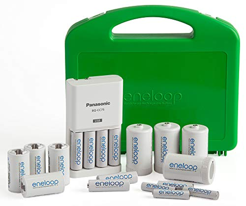 Panasonic K-KJ75MC64ZA eneloop Power Pack 6AA, 4AAA, 4 C Adapters, 4 D Adapters,