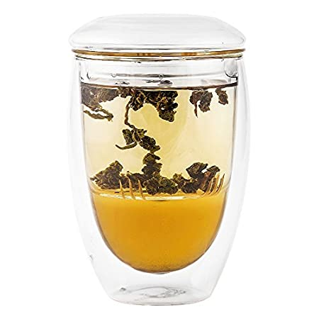 Tea Infuser Cup With Double Wall Glass Design, Strainer and Lid - Perfect Tea Steeper Mug to Brew Loose Leaf Teas 10 oz – Tea Maker Arrives in a Beautiful Gift Box Immortalitea