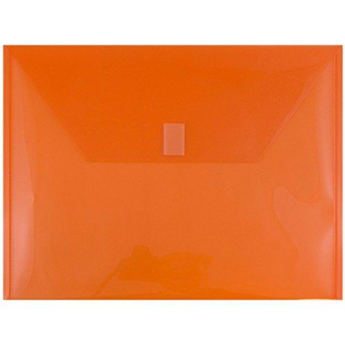 (JAM PAPER Plastic Envelopes with Hook & Loop Closure - Letter Booklet - 9 3/4 x 13 - Orange - 12/Pack)