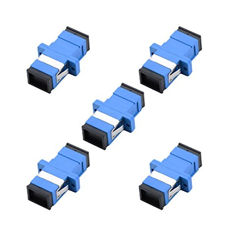 SC Fiber Optic Adapter - Comm Cable SC to SC Simplex Singlemode Coupler - 5 Pack - Blue ()