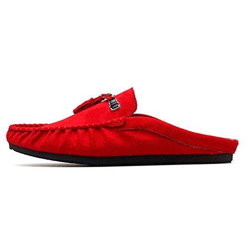 in Interno Pantofole Scarpe Pelle Rosso Senza Mocassini Sandali Uomo Passeggio Tacchi da Home Mocassino Barca Scarpe Casual da da da aqZwX
