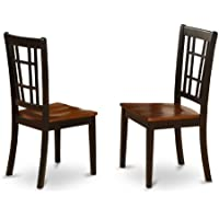 East West Furniture NIC-BLK-W Dining Chair Set with Wood Seat, Black/Cherry Finish, Set of 2