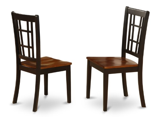 East West Furniture NIC-BLK-W Dining Chair Set with Wood Seat, Black/Cherry Finish, Set of - Seat Chair Two Cherry