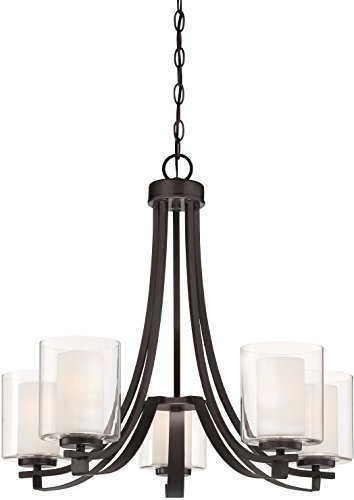 Minka Lavery Chandelier Lighting 4105-172, Parsons Studio Glass 1 Tier with Shades, 5 Light, Smoked Iron