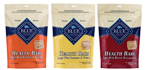 Blue Buffalo Blue Health Bars Natural Baked Dog Biscuits 3 Flavor Variety Bundle: (1) Blue Health Bars Baked With Pumpkin & Cinnamon, (1) Blue Health Bars Baked With Bananas & Yogurt, and (1) Blue Health Bars Baked With Bacon, Egg & Cheese, 16 Oz. Ea. (3 B