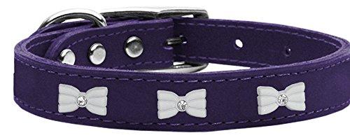 Pr24 Training - Mirage Pet Products 83-49 Pr24 White Bow Widget Genuine Leather Purple Dog Collar