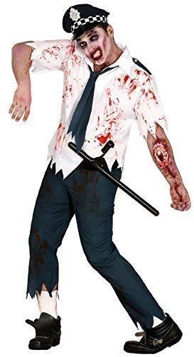 Mens Dead Bloody Zombie Policeman Officer Cop Uniform Scary Halloween Fancy Dress Costume -