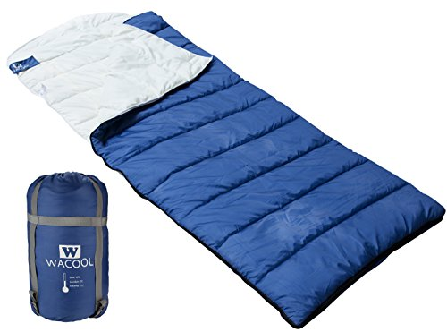 WACOOL Hooded Envelope Sleeping Bag, Extra Large 88 x 32in, Comfort Temperature Range of 23-54°F. Great for 3 Season and Cool Cold Weather. With Compression Sack. Free Inflatable Pillow Included.