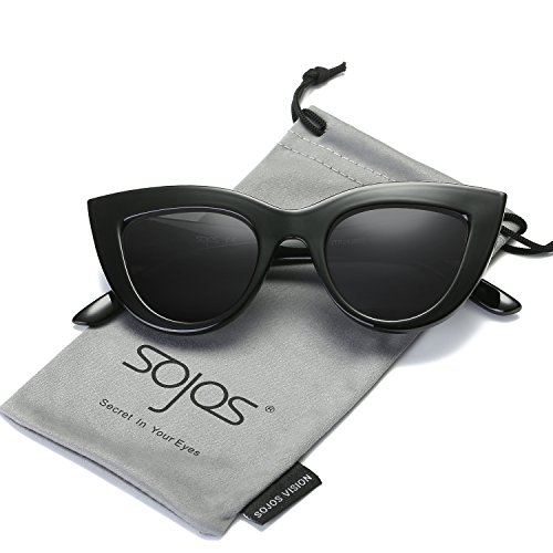 SOJOS Retro Vintage Cateye Sunglasses for Women Plastic Frame Mirrored Lens SJ2939 with Black Frame/Grey Lens -