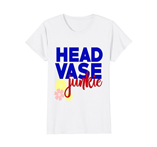 Womens Lady Head Vase Junkie Shirt Funny Vintage Collector Gift Red Large White