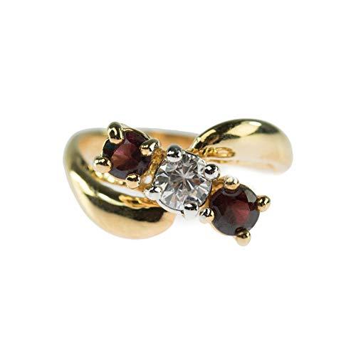 Providence Vintage Jewelry Genuine Garnet & Clear Swarovski Crystal 18k Gold Plated -
