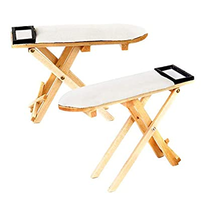 ZEROYOYO Dollhouse Ironing Board 1: 12 Iron Ironing Board Doll House Furniture Mini Simulation Sewing Room Miniature Bedroom Table for 1:12 Doll House Decor Children Gift Toy: Toys & Games