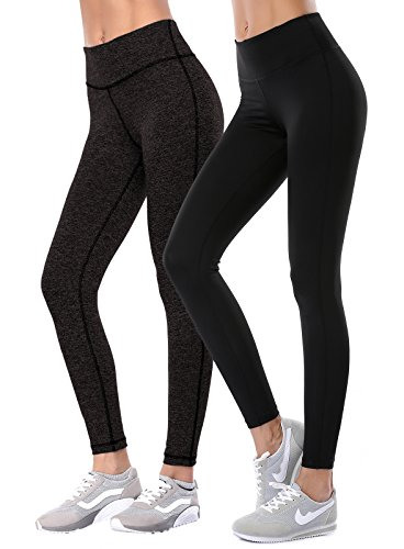 Aenlley Women's Activewear Yoga Pants High Rise Workout Gym Spanx Tights leggings 2-Pack Black/Dark Grey Size M