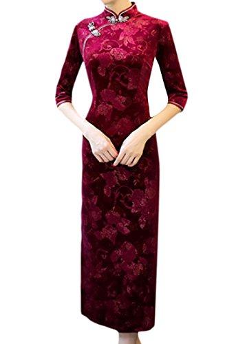 Elegant Charmeuse Print Chinese Women's Qipao Robe Dress Comfy 1 Split wx1Eq