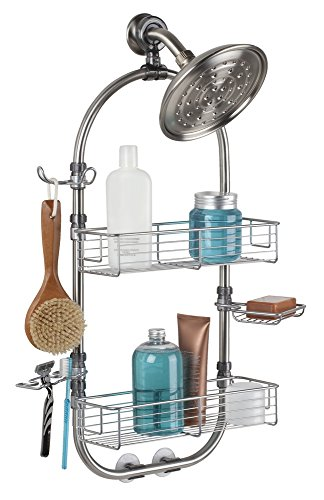 mDesign Bathroom Shower Caddy for Shampoo, Conditioner, Soap, Razor - Large, Stainless Steel, Brushed by mDesign