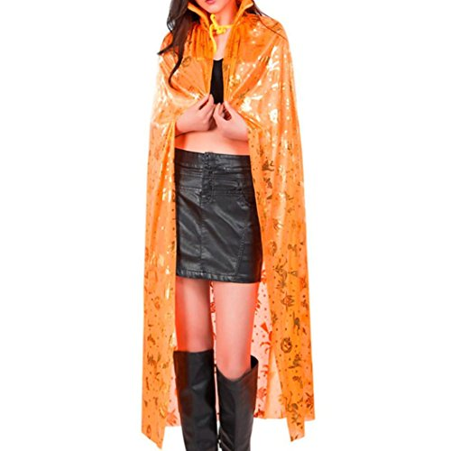[Hot ! Halloween Cosplay, Ninasill Exclusive Cos Cloak Coat Wicca Robe Medieval Cape Shawl Halloween Elven Witch Party (Orange)] (Crazy Magician Costume)