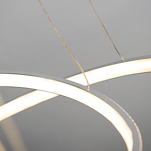 QAZQA Moderno Lámpara colgante HALO cromo Plástico/Metálica Redonda Incluye LED Max. 300 x 17.4 Watt: Amazon.es: Iluminación